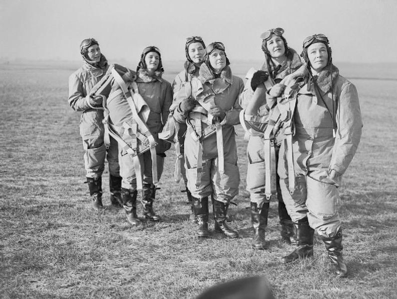 Women pilots of the Air Transport Auxiliary (ATA) in flying kit at Hatfield, 10 Jan 1940 (Imperial War Museum: C 381)