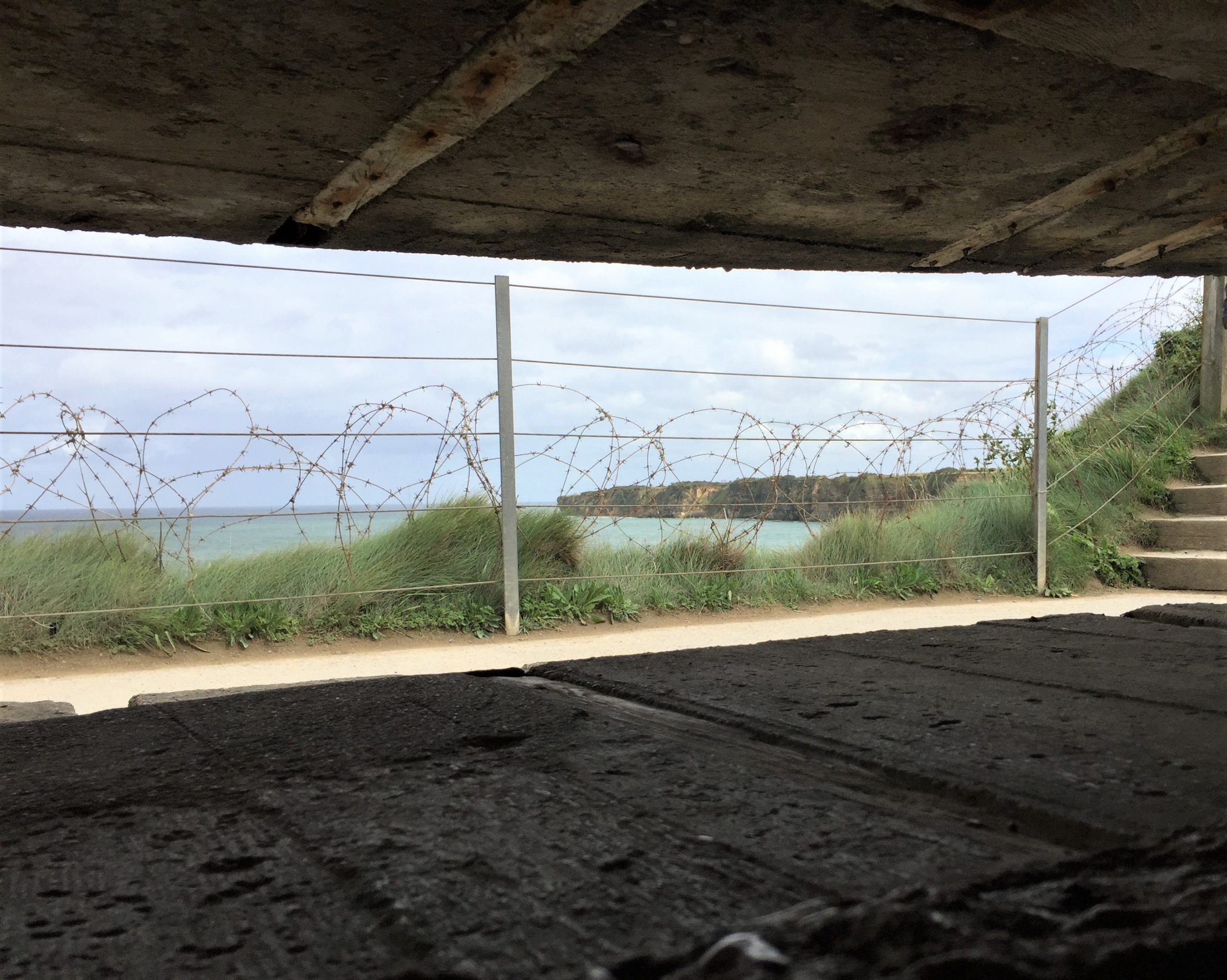 View from inside observation post at tip of Pointe du Hoc (Photo: Sarah Sundin, September 2017)