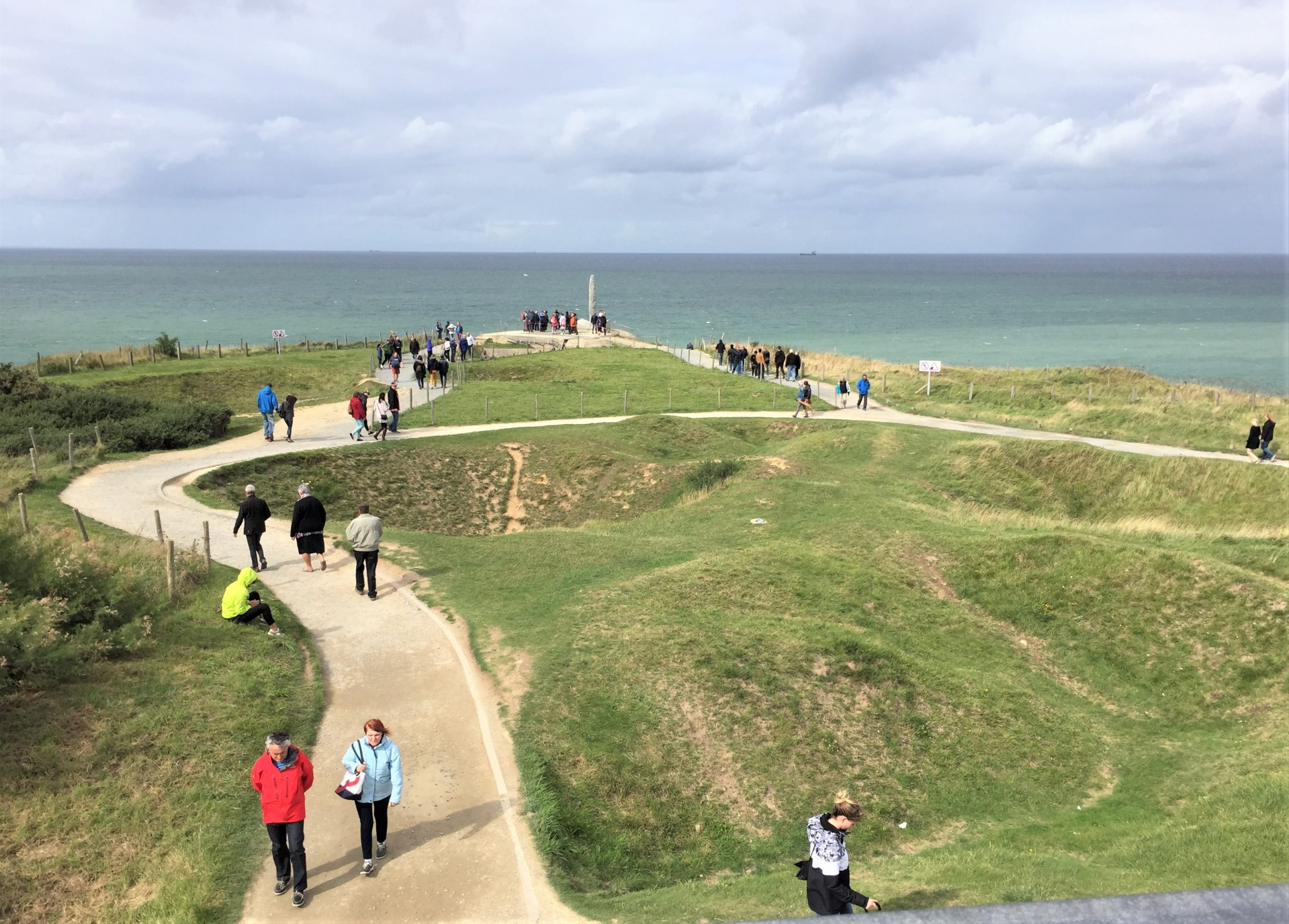View over Pointe du Hoc from the top of a gun battery, facing the point (Photo: Sarah Sundin, September 2017)