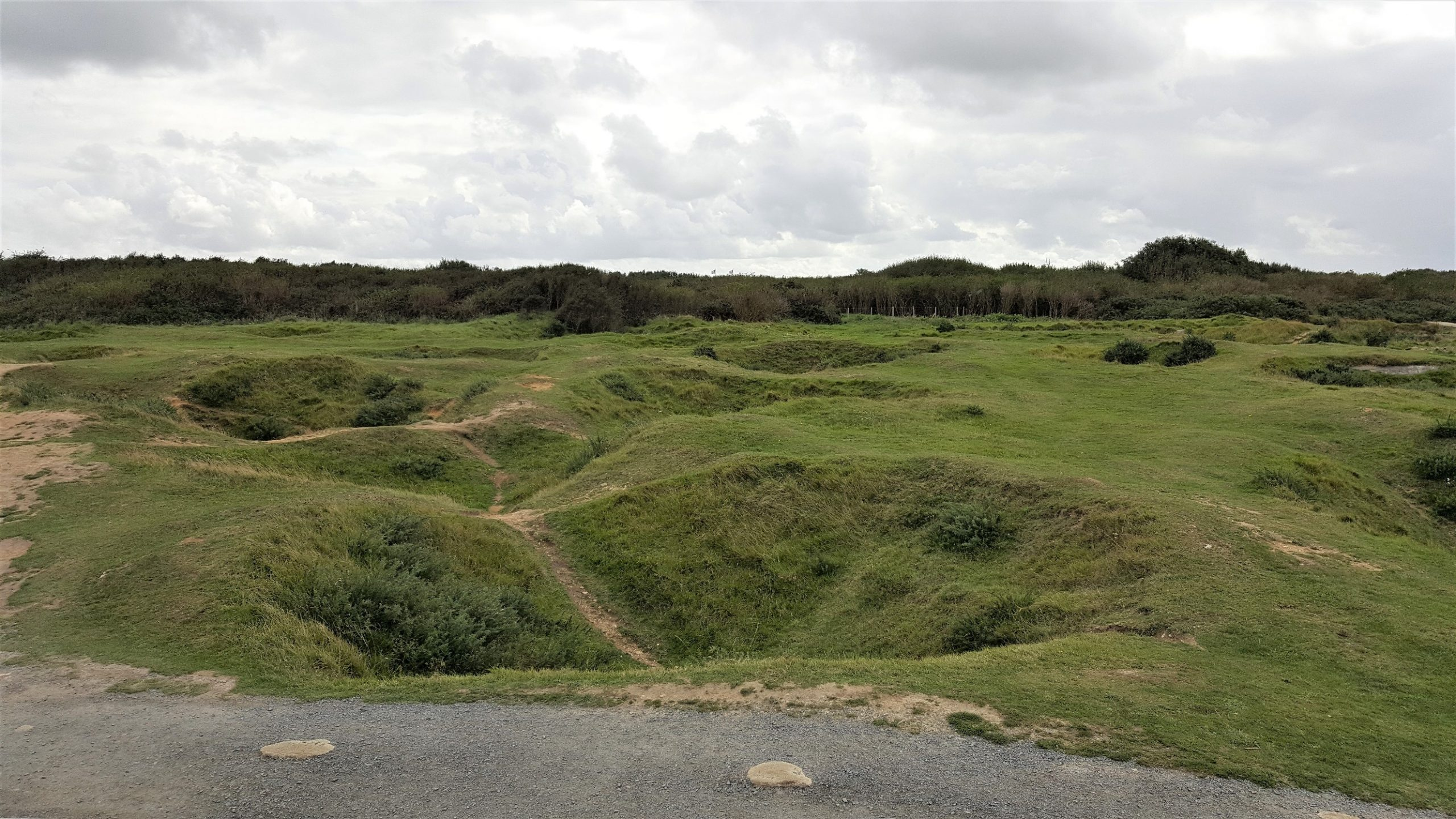 View over Pointe du Hoc showing cratering (Photo: Sarah Sundin, September 2017)