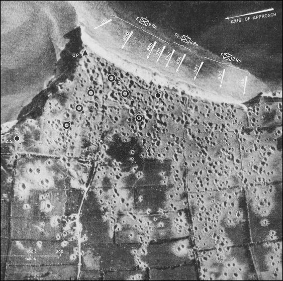 Aerial photo marked to show the assault landings at Pointe du Hoc by the US 2nd Ranger Battalion on D-day, 6 June 1944 (US Army Air Force photo)