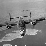 B-24J Liberators of the 15th Air Force return from mission to Mühldorf, Germany to their base in Italy, Mar 19 1945, flying over island of Drvenik Veliki, Yugoslavia (US National Archives)