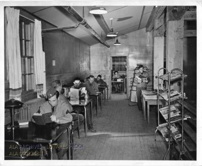 Soldiers Reading at Camp Forrest Library, Tullahoma, TN, 13 Feb 1942 (US Army Signal Corps)