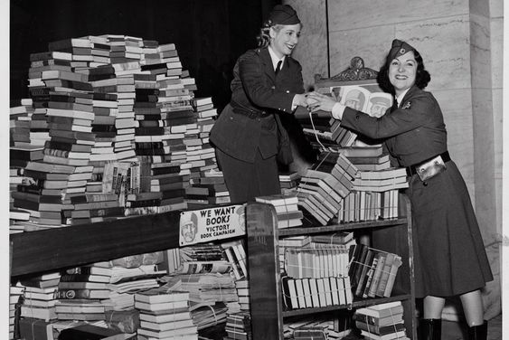 American Red Cross volunteers collect books for the Victory Book Campaign in World War II (US Army Center of Military History)