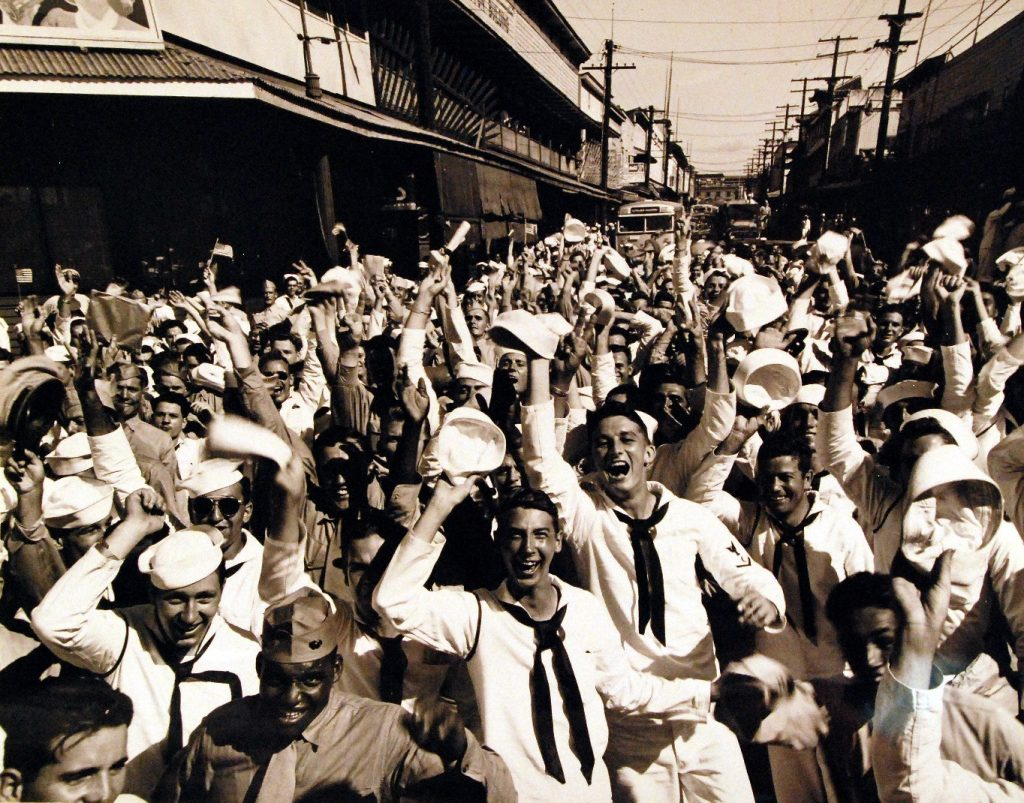 Victory celebration, Waikiki, Oahu, US Territory of Hawaii, 15 Aug 1945