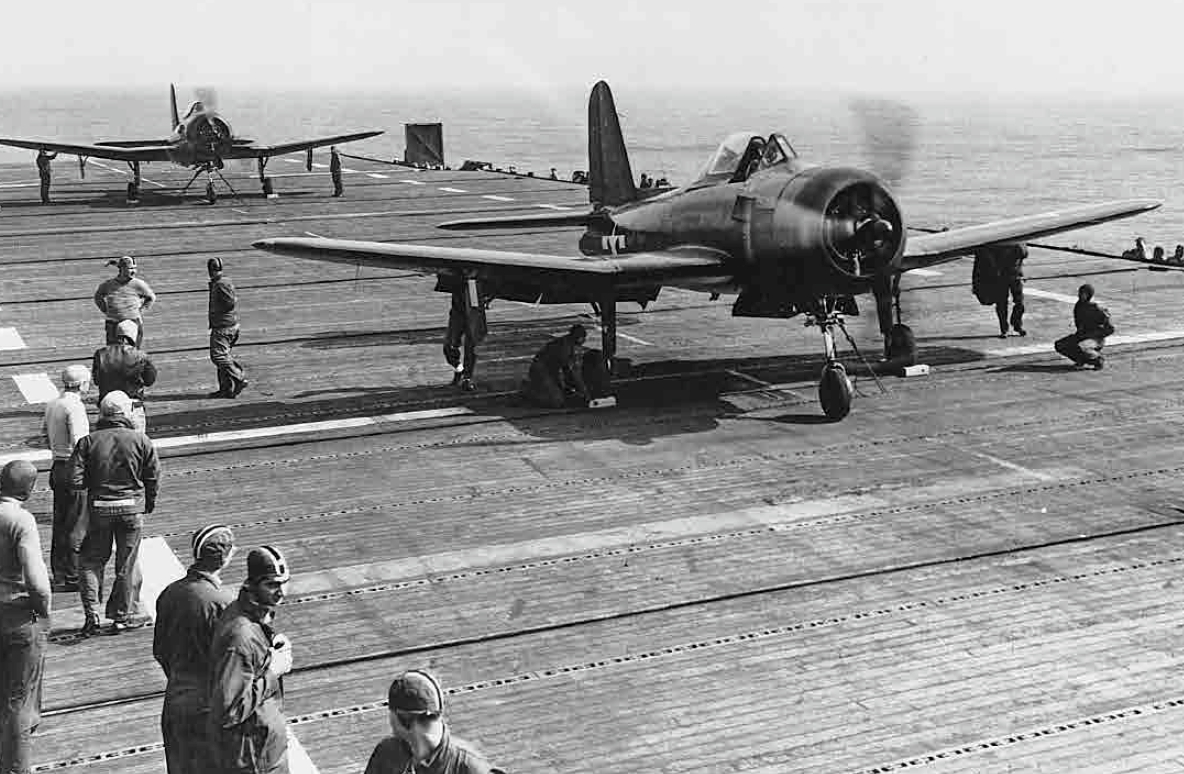 Ryan FR-1 Fireball fighters during carrier qualifications aboard aircraft carrier USS Ranger (CV-4), May 1945 (US Navy Photo: USN 1053774)