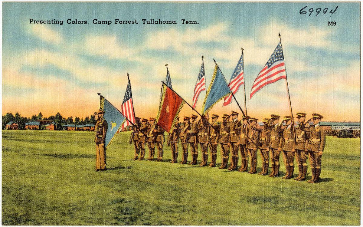 Postcard: Presenting Colors, Camp Forrest, Tullahoma, TN, c. 1941-44 (public domain via Boston Public Library Tichnor Brothers collection #69994)