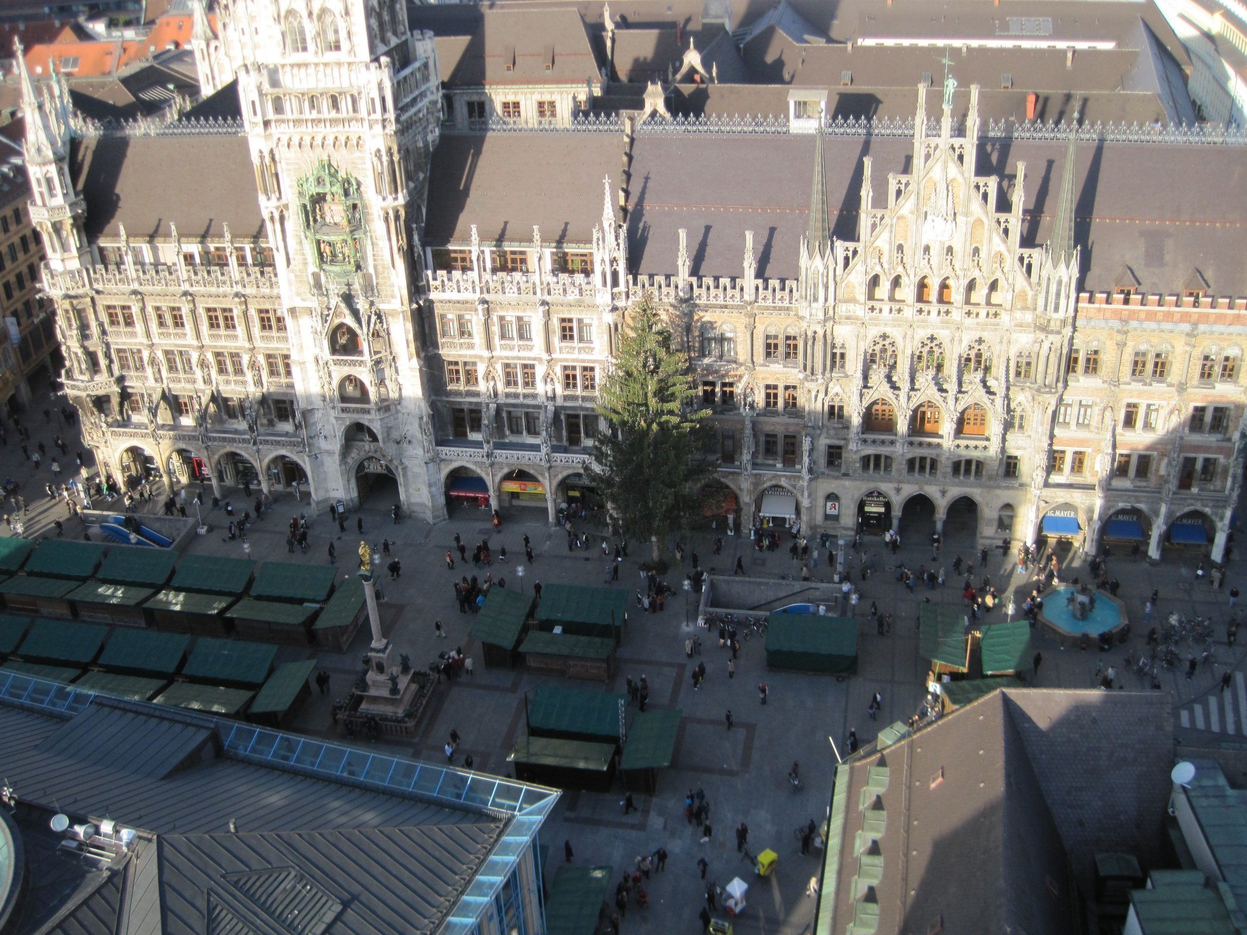 Looking down on the Marienplatz and the Neues Rathaus, viewed from the tower of St. Peterskirche (Photo courtesy of Morgan Tarpley Smith)