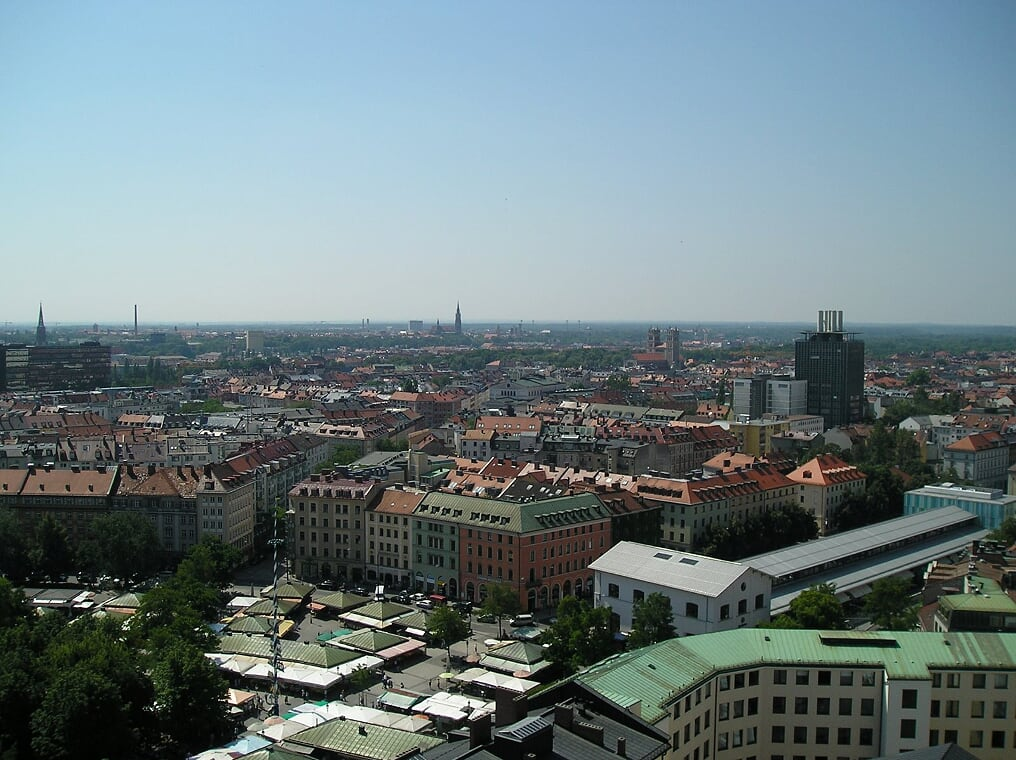 Looking down on the Viktualienmarkt from the tower of St. Peterskirche (Photo courtesy of Stephen Sundin, July 2007)