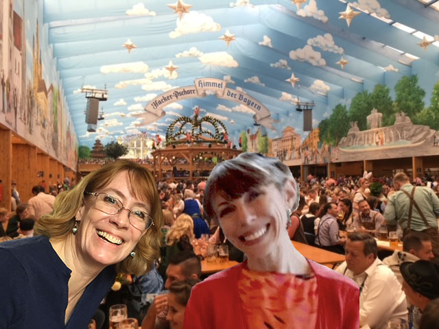 Inside an Oktoberfest tent with travel buddy Christianne McCall (Photo courtesy of Jill Oishi Reichner)