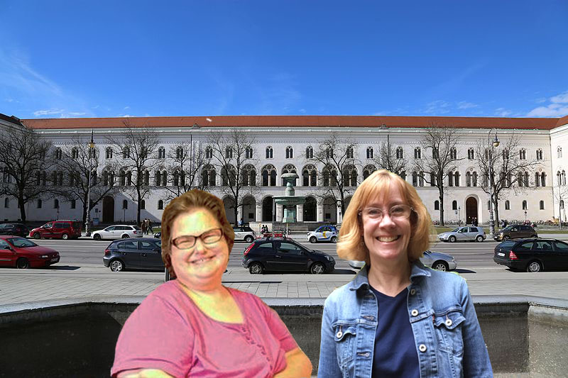 The University of Munich with travel buddy Debbie Pruss (Photo via Wikimedia Commons, author: Wikiolo, February 2017)