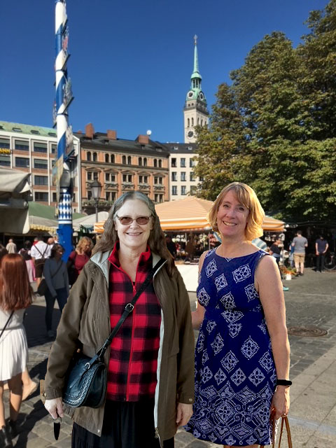 Viktualienmarkt with St. Peterskirche in the background, with travel buddy Debbie Troxell (Photo courtesy of Jill Oishi Reichner)