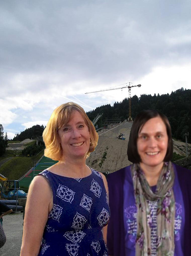 Ski jump ramp in the Olympic Ski Stadium in Garmisch-Partenkirchen with travel buddy Elodie Conrad (Photo courtesy of Stephen Sundin, July 2007)