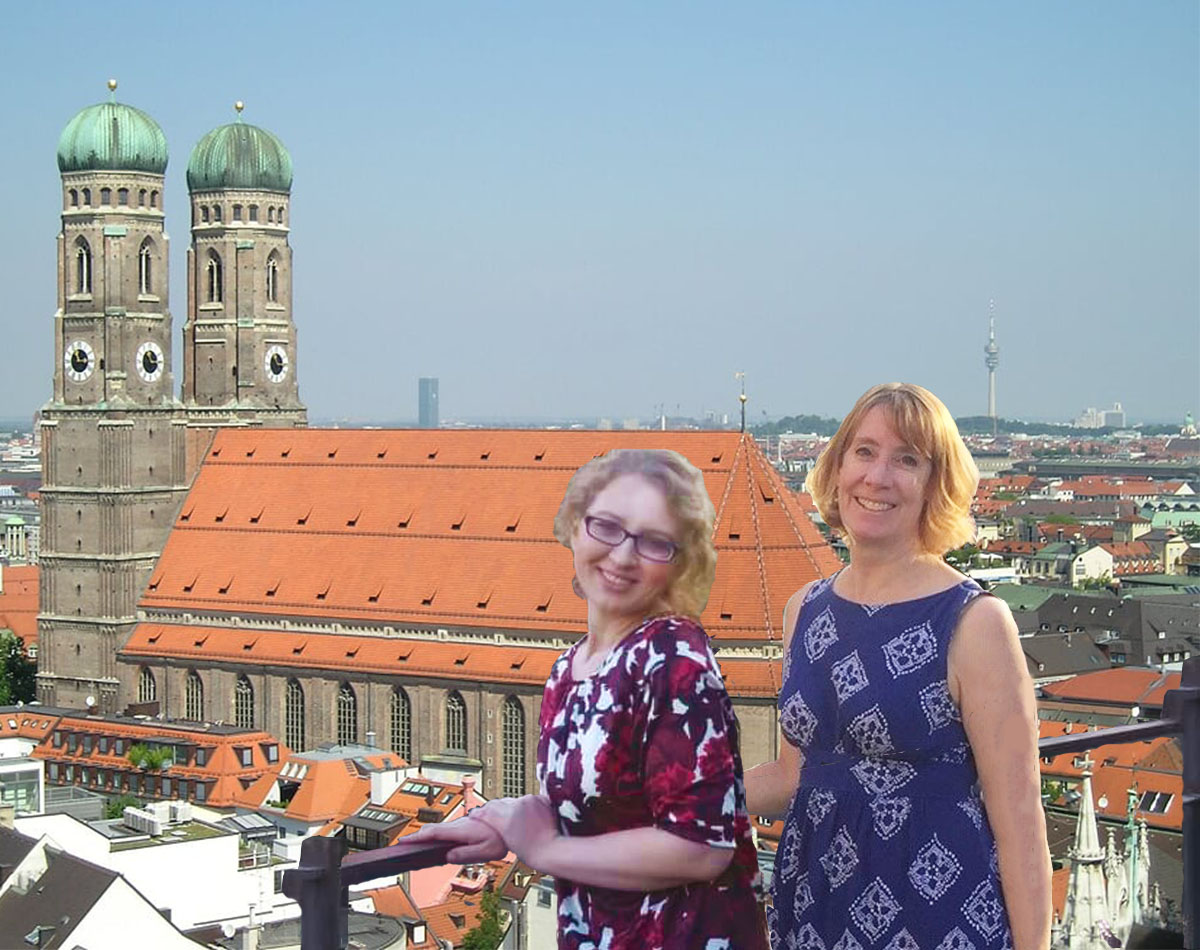 The Frauenkirche viewed from St. Peterskirche, with travel buddy Gloria Moseley (Photo courtesy of Stephen Sundin, July 2007)