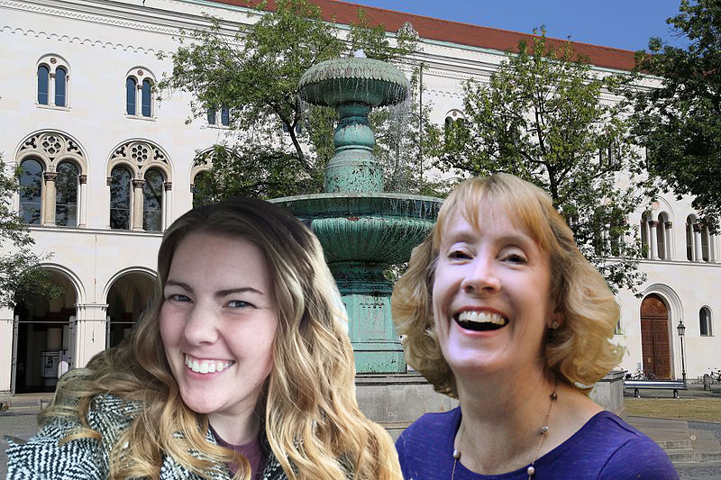 Fountain at the University of Munich with travel buddy Laura Nagelkirk (Photo via Wikimedia Commons, author: Rufus46, August 2015)