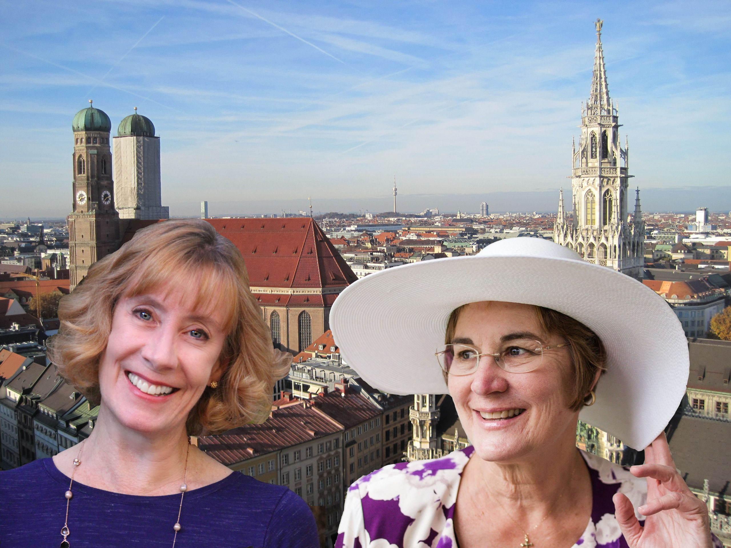 Marienplatz and the Neues Rathaus, viewed from the tower of St. Peterskirche, with travel buddy Michelle Ule (Photo courtesy of Morgan Tarpley Smith)