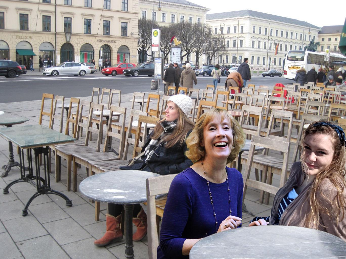 Morgan Tarpley Smith at the Odeonsplatz in Munich (left)—with travel buddy Molly Elizabeth (right) and Sarah Sundin added virtually (Photo courtesy of Morgan Tarpley Smith)