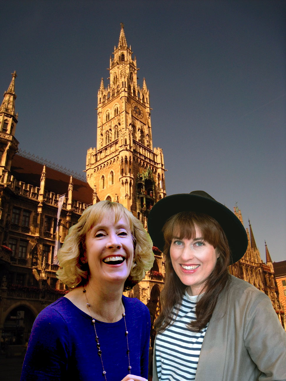 Neues Rathaus with travel buddy Morgan Tarpley Smith—see Glockenspiel in center of tower (Photo courtesy of Pauline Trummel)