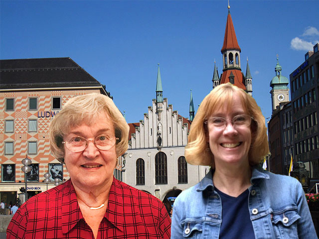Altes Rathaus with travel buddy Susan Newcomb (Photo courtesy of Pauline Trummel)