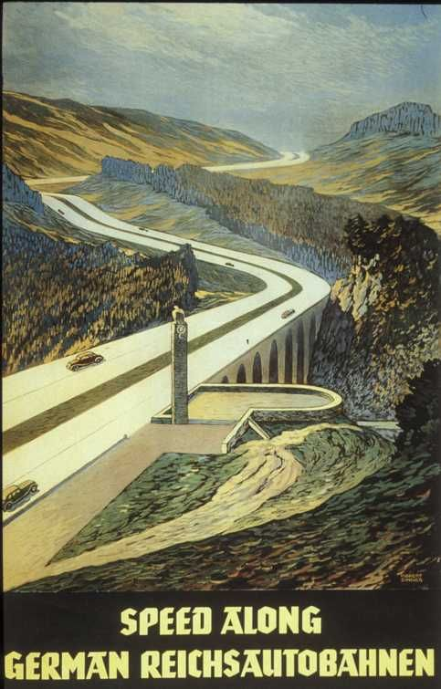 German tourism poster promoting the Autobahn, 1930s