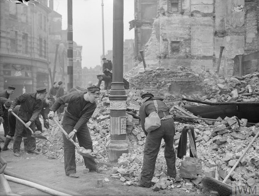 Norwegian sailors help clean up after Plymouth Blitz, 21 March 1941 (Imperial War Museum: A 3546)