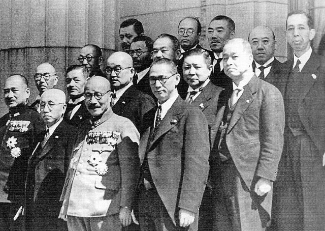 Japanese Prime Minister Tojo and his cabinet ministers, Tokyo, Japan, 18 Oct 1941 (public domain via Wikipedia)