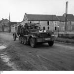 German SdKfz 10/4 vehicle with a mounted 2 cm FlaK 30 anti-aircraft gun, France, May 1940 (German Federal Archive, Bild 101I-055-1551-10)