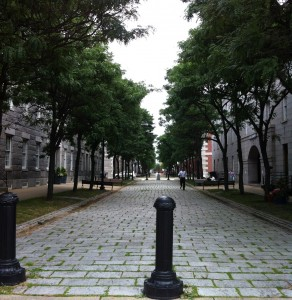Looking down Second Ave. at the Charlestown Navy Yard in Boston, Buildings 33 & 34 in foreground, 38 & 39 in background (Photo: Sarah Sundin, July 2014)