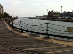 The base of Dry Dock 2 at the Charlestown Navy Yard, Boston (Photo: Sarah Sundin, July 2014)
