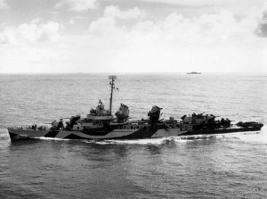 Fletcher-class destroyer USS Cassin Young in the Pacific, 1944 (US Navy photo)