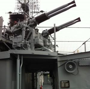 Quad-mount 40-mm guns on USS Cassin Young, Charlestown Navy Yard, Boston, July 2014 (Photo: Sarah Sundin)
