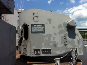 5-inch dual mount gun (with open door!), USS Massachusetts, Battleship Cove, Fall River, MA, July 2014 (Photo: Sarah Sundin)