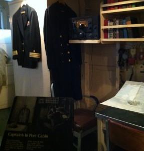 Captain's in-port cabin, USS Cassin Young, Charlestown Navy Yard, Boston, July 2014 (Photo: Sarah Sundin)