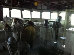 Starboard side of pilothouse, USS Joseph P. Kennedy, Jr., Battleship Cove, Fall River, MA, July 2014 (Photo: Sarah Sundin)