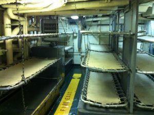 Enlisted men's quarters on board destroyer USS Joseph P. Kennedy, Jr., Battleship Cove, Fall River, MA, July 2014 (Photo: Sarah Sundin)