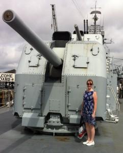 Forward 5-inch gun on the USS Cassin Young, Charlestown Navy Yard, Boston - and Sarah Sundin. July 2014