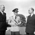 King Peter II of Yugoslavia with Prime Minister General Simovic (left) and Court Minister M Knezevic arriving in England, 21 June 1941 (Imperial War Museum: H 10922)