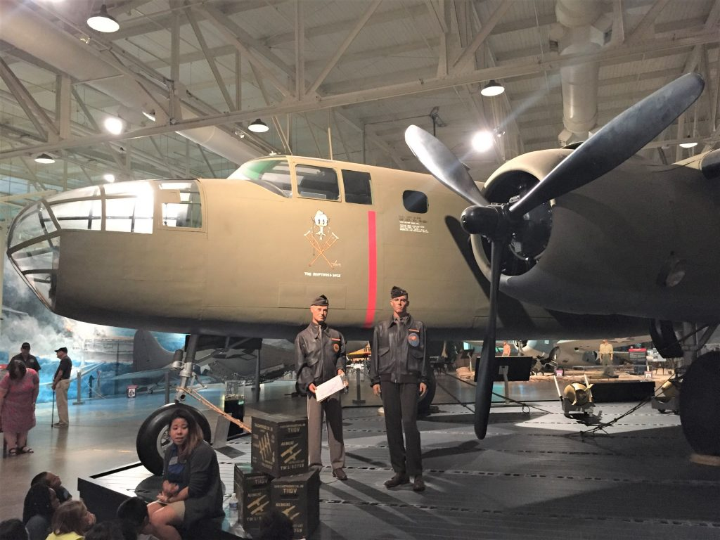 US B-25 Mitchell medium bomber as used in the Doolittle carrier raid on Tokyo on 18 April 1942. Diorama at the Pacific Aviation Museum. (Photo: Sarah Sundin, 7 Nov 2016)