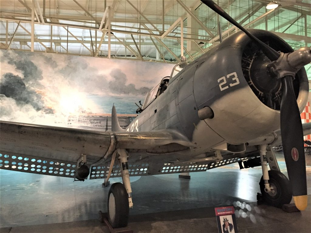 US SBD Dauntless dive-bomber like those used in the Battle of Midway 4-6 June 1942. Diorama at Pacific Aviation Museum. (Photo: Sarah Sundin, 7 Nov 2016)