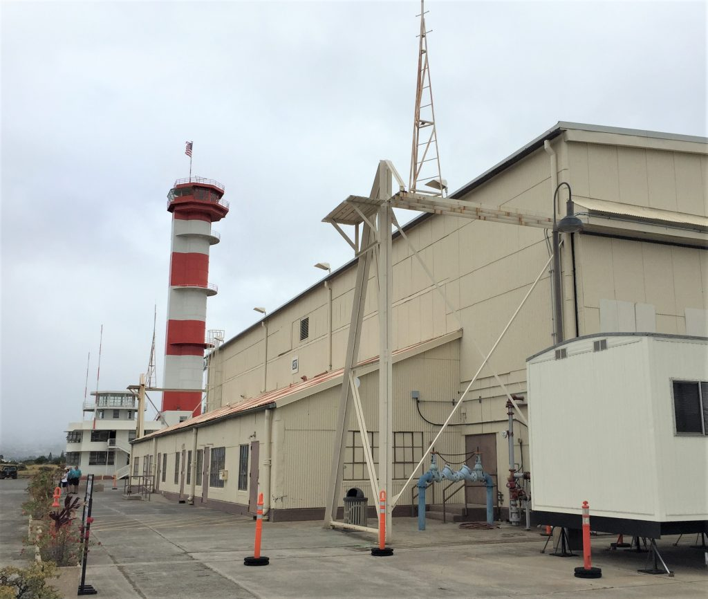 Pacific Aviation Museum, Hangar 37 and control tower, Ford Island, Pearl Harbor (Photo: Sarah Sundin, 7 Nov 2016)