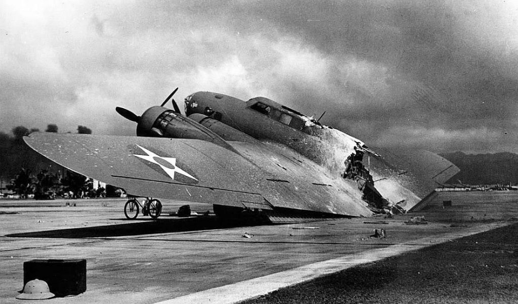 Wreck of B-17C bomber at Hickam Field, Territory of Hawaii, 7 Dec 1941 (US National Archives)