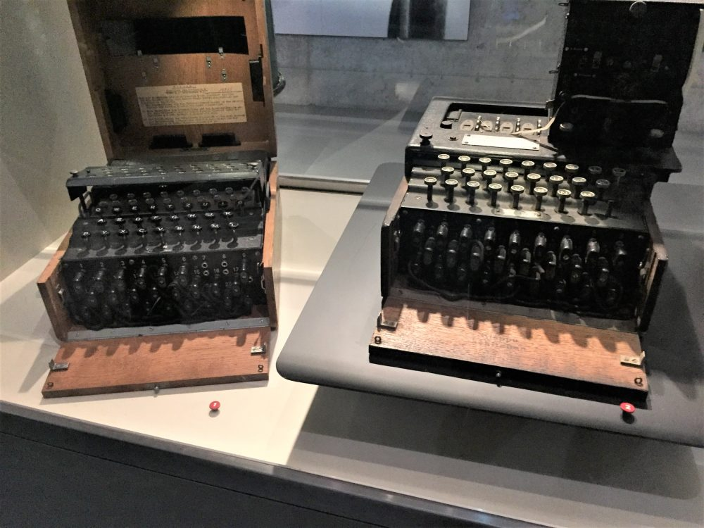 German Enigma code machine captured from U-505, Chicago Museum of Science and Industry (Photo: Sarah Sundin, September 2016).
