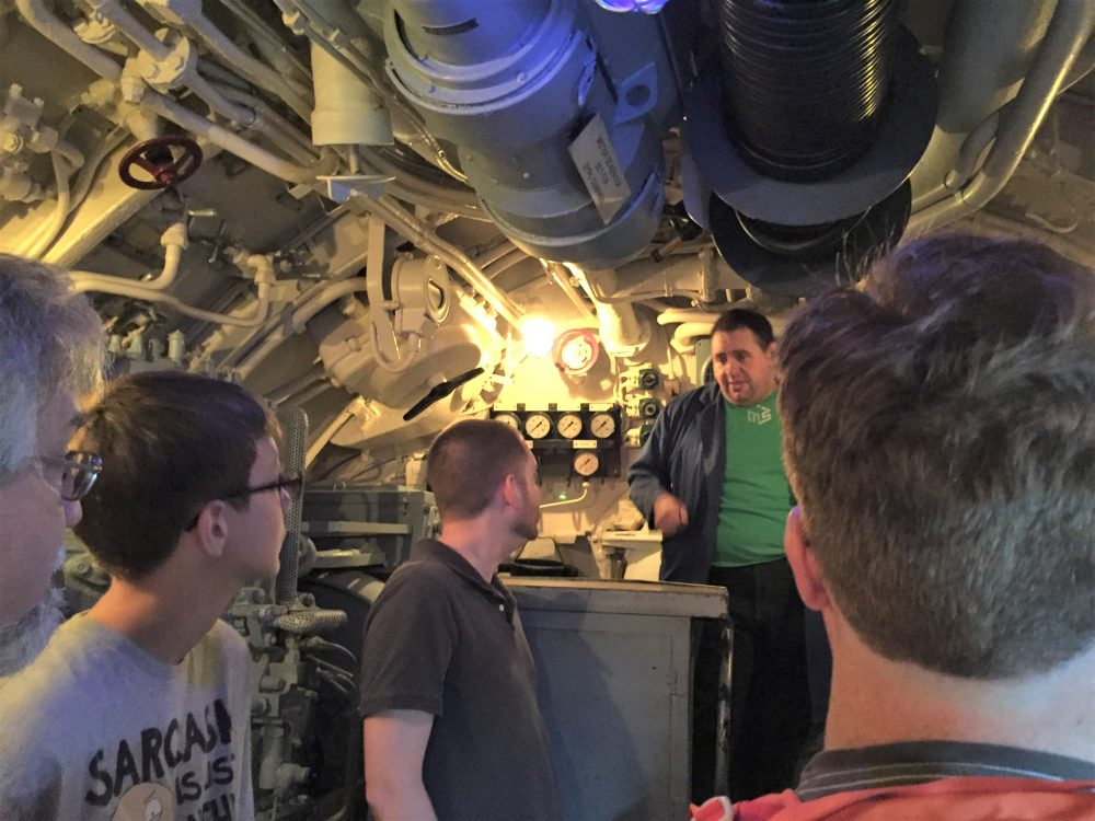Electric motor room in U-505 (see how cramped it is!), Chicago Museum of Science and Industry (Photo: Sarah Sundin, September 2016).