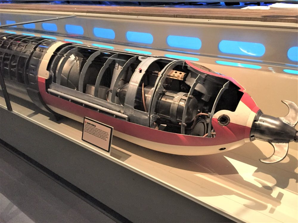 Display of German torpedo, Chicago Museum of Science and Industry (Photo: Sarah Sundin, September 2016)