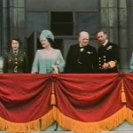 Princess Elizabeth, Queen Elizabeth, Winston Churchill, King George VI, and Princess Margaret on the balcony of Buckingham Palace, London, 8 May 1945 (US Army photo)